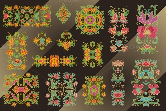 Set Of Decorative Flourish Vignettes