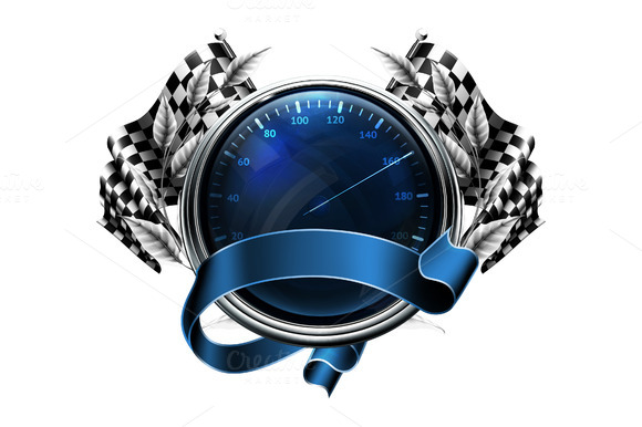 Speedometer Emblem With Flags