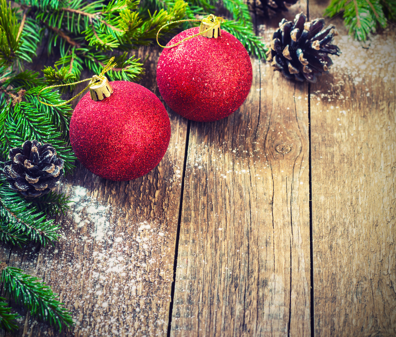 Christmas Decoration Over Wooden Background Decorations