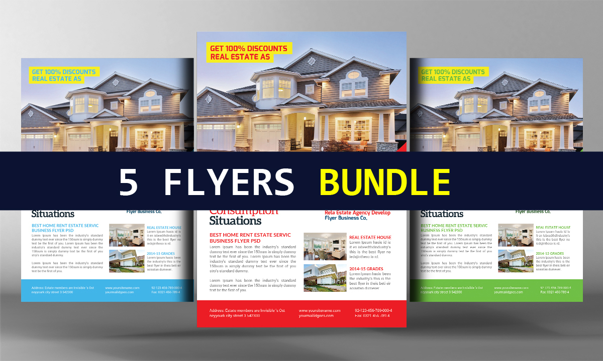 5 real estate agents flyers bundle flyer templates on creative market. Black Bedroom Furniture Sets. Home Design Ideas