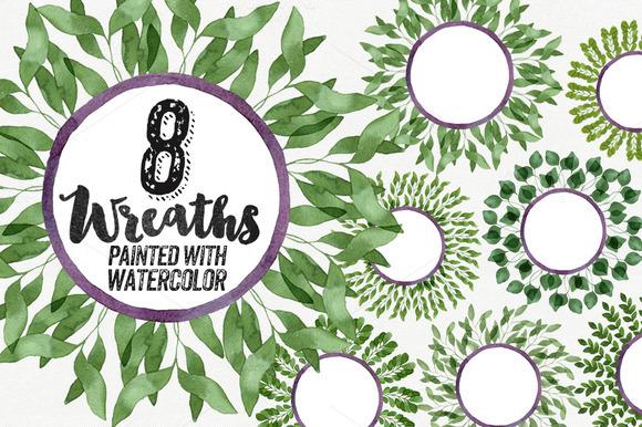 8 Watercolor Leaves Wreaths