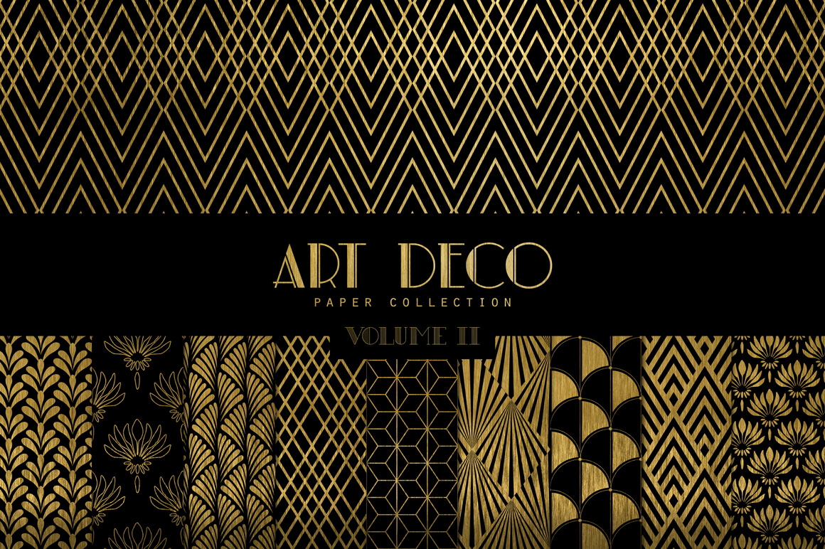Art deco digital papers vol 2 patterns on creative market - Deco vol ...