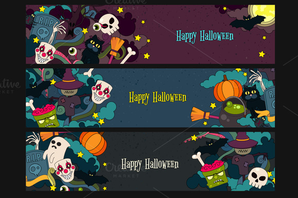 Happy Halloween Vector Web-banners