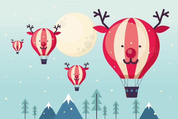 Reindeer Hot Air Balloon Vector