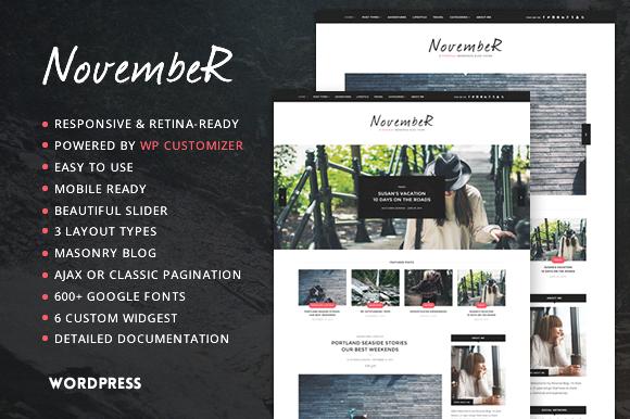 November Personal Blog Theme