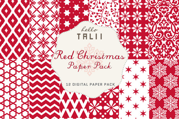 SALE Red Christmas Paper Pack
