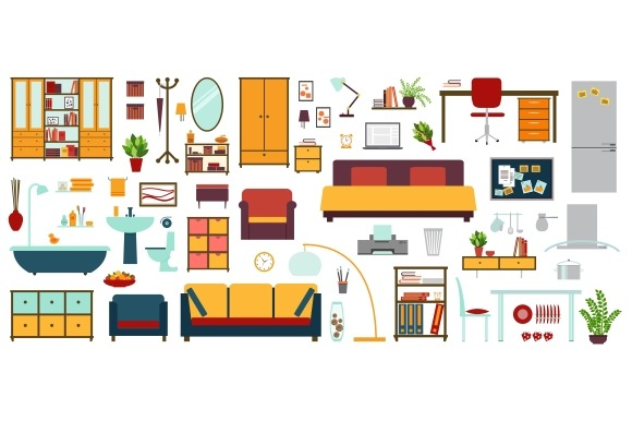 Furniture Icons In Flat Style