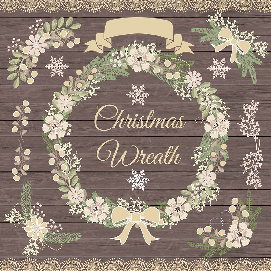 Vector Rustic Christmas Clipart Illustrations On