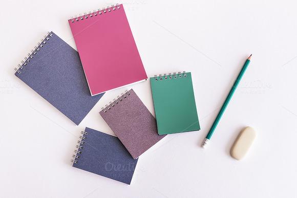 Mockup. Drawing pad and pencil. - Product Mockups