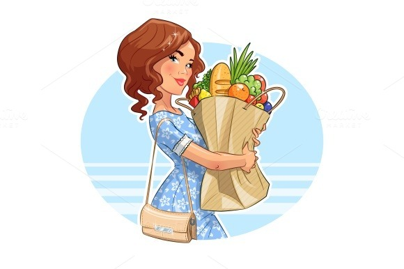 Beautiful girl with package of products. Shopping. - Illustrations