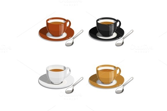 Cup of coffee. Set of vector illustrations - Illustrations