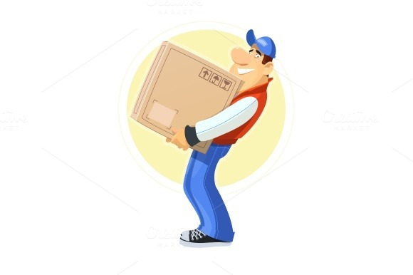 Loader with box. Delivery service. - Illustrations