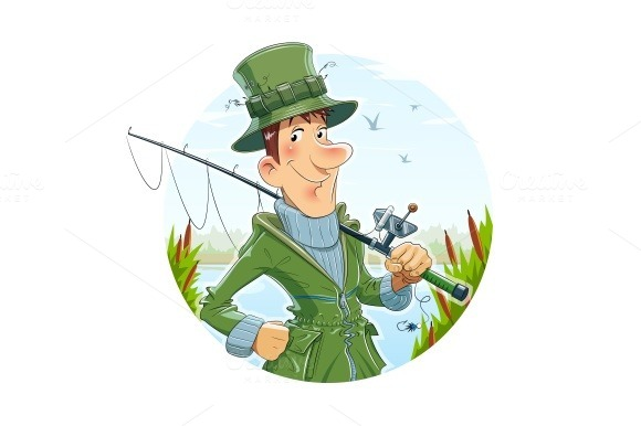 Fisherman with rod. Fishing - Illustrations