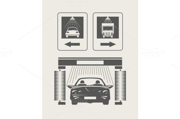 Car wash. Set of vector icons - Icons
