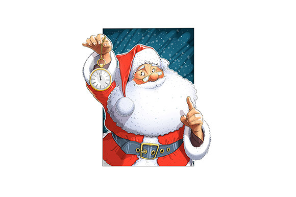 Santa Claus With Clock