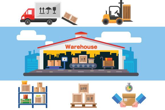 Warehouse flat vector illustration. ~ Illustrations on ...