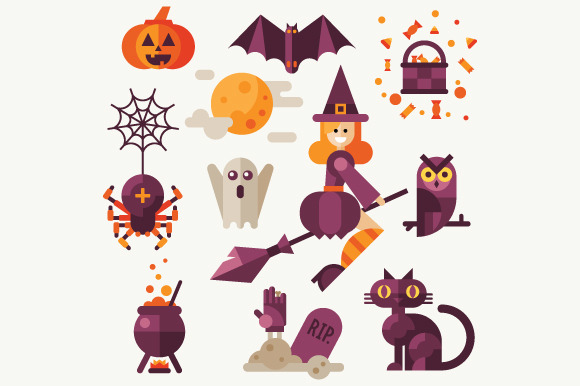 Halloween Flat Vector Icon Set