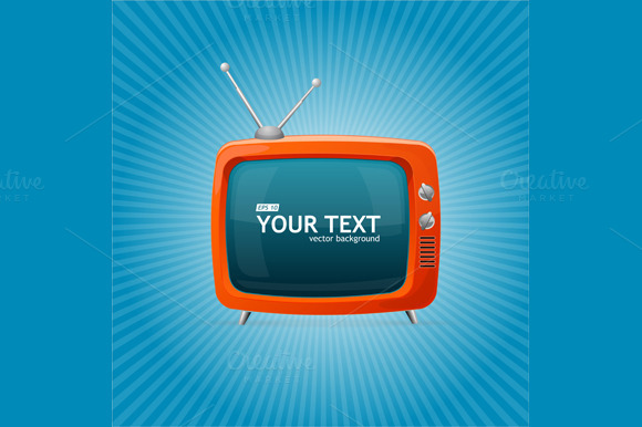 Retro TV on Blue Background. Vector - Illustrations
