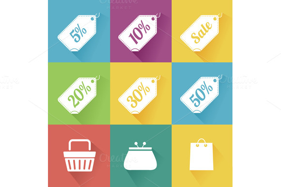 Flat Sale Icons Set. Vector - Icons