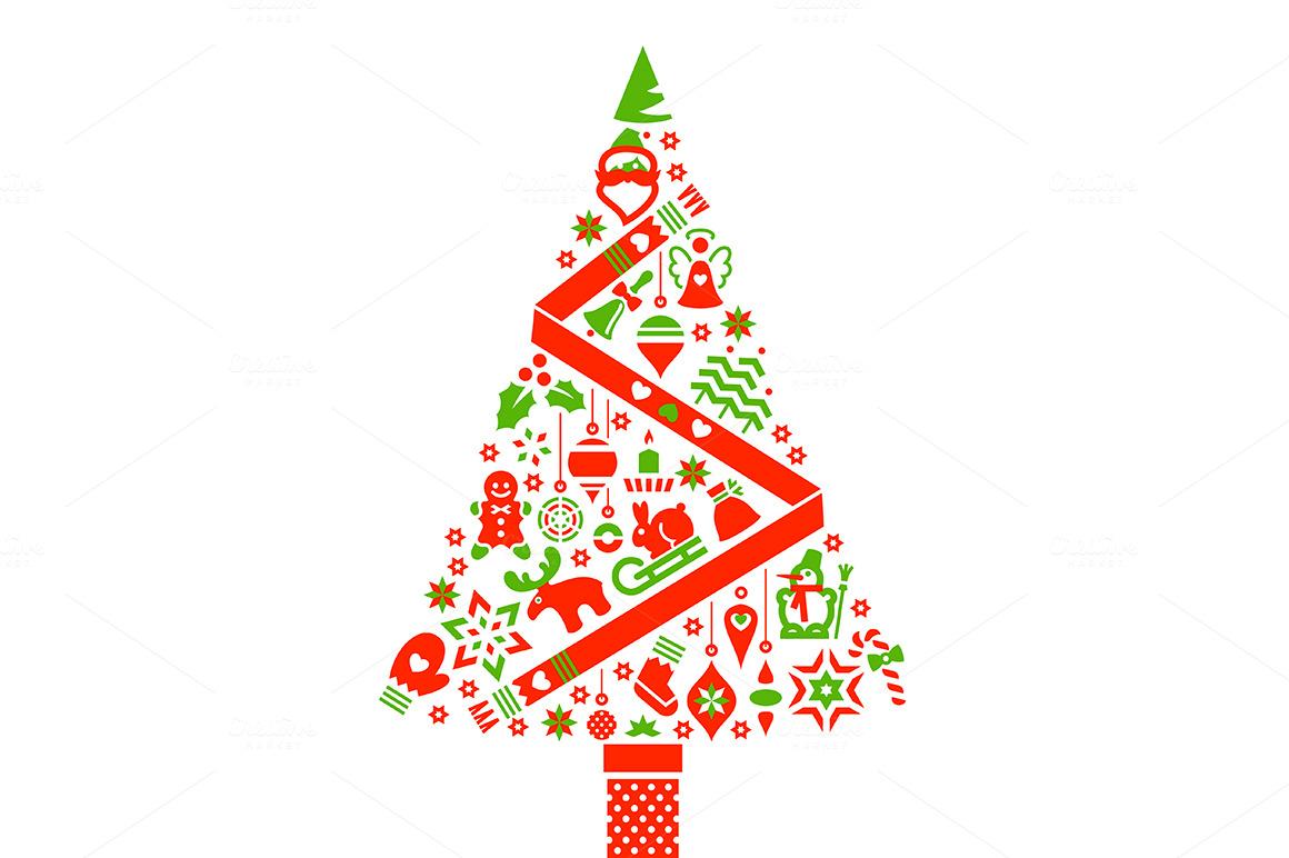 Christmas tree illustration icons illustrations on