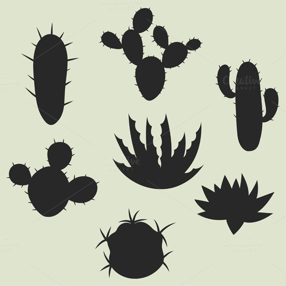 Collection Of Stylized Cactuses
