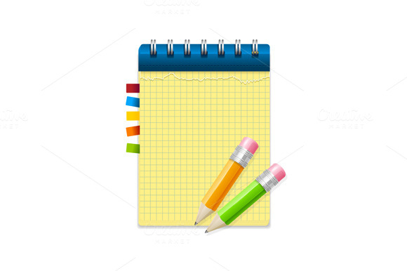 Yellow and White note paper. Vector - Illustrations