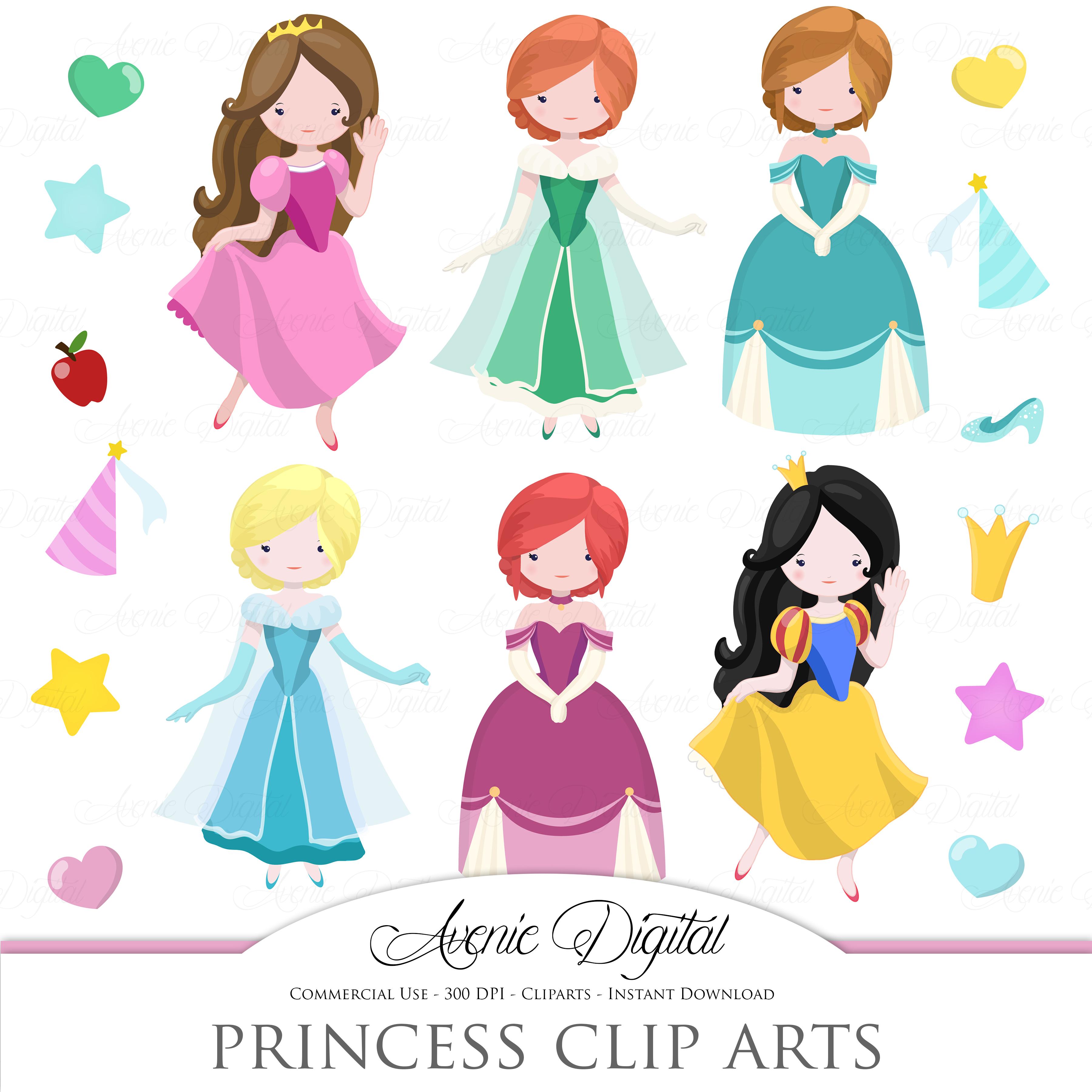 Fairytale Princess Clip Art Vector Illustrations On