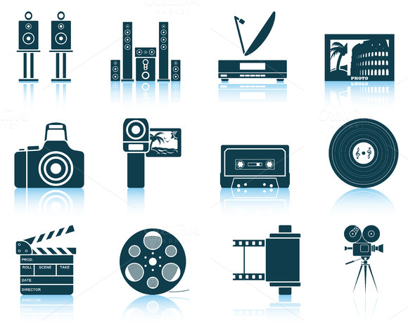 Set Of 12 Multimedia Icons