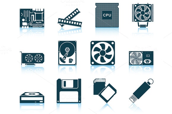 Set Of 12 Computer Hardware Icons