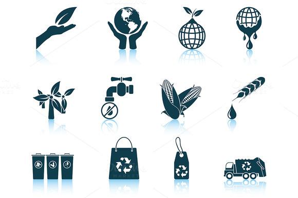 Set Of 12 Ecological Icons