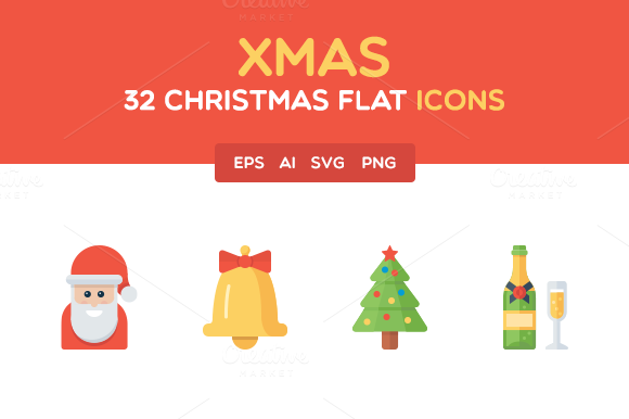 Christmas Flat Icon Set