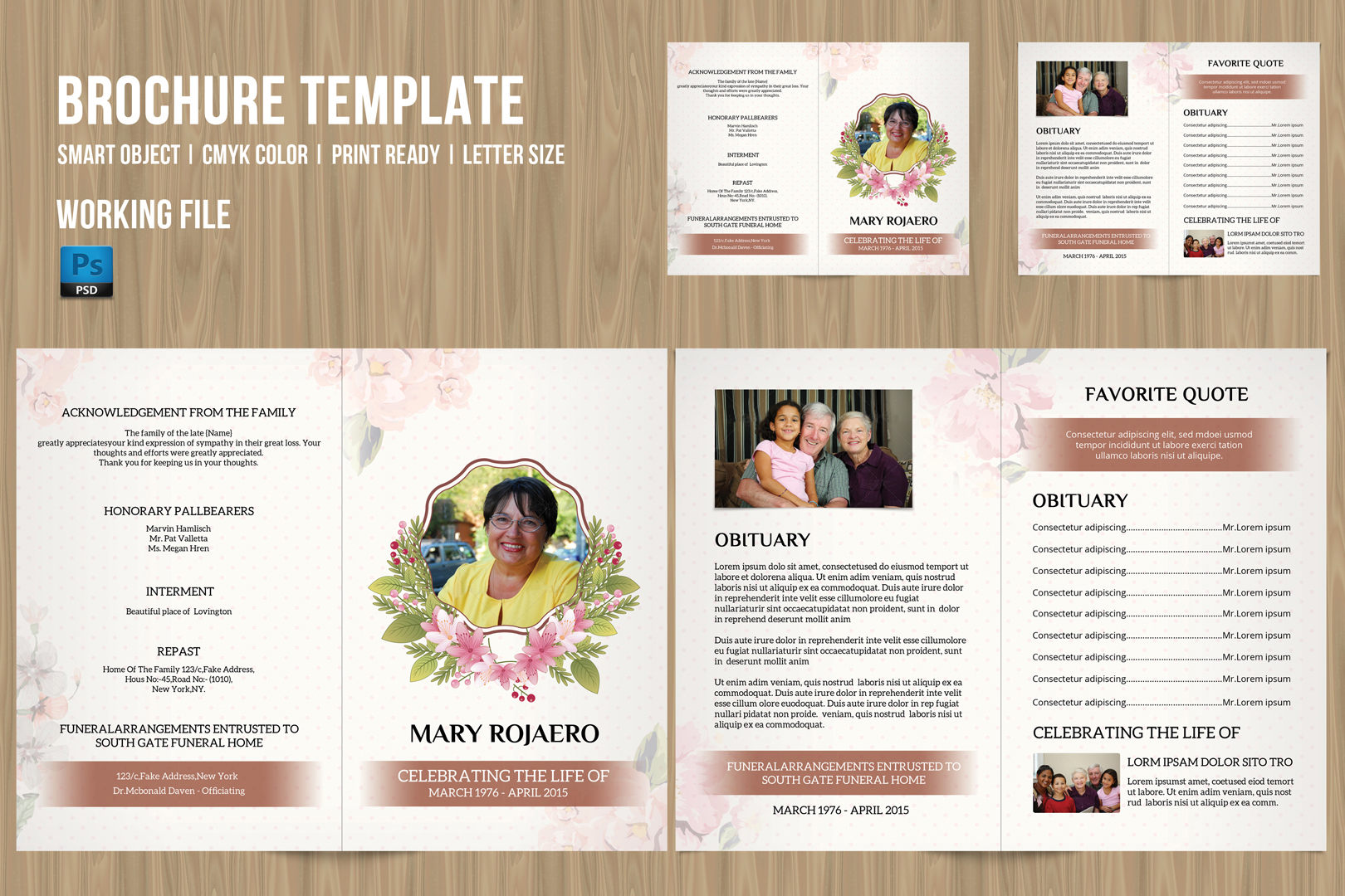Funeral program template v181 brochure templates on for Program brochure templates