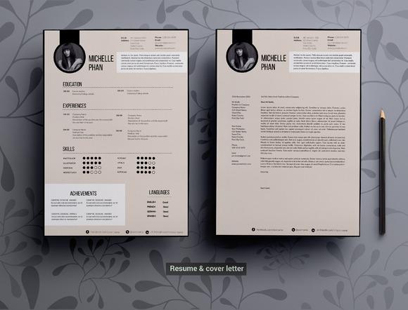 resume template for ms word  resume templates on creative marketmodern  elegant cv template