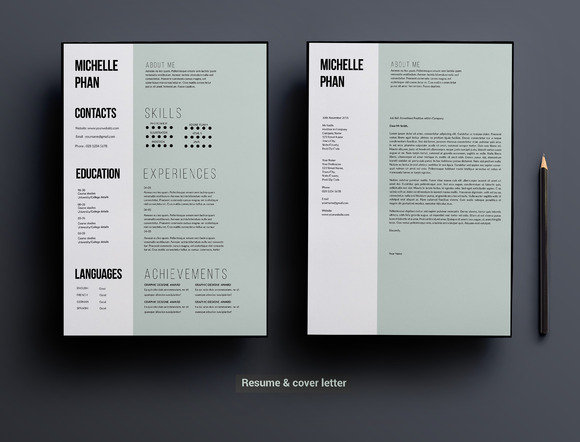 1 page cv template  minimal design