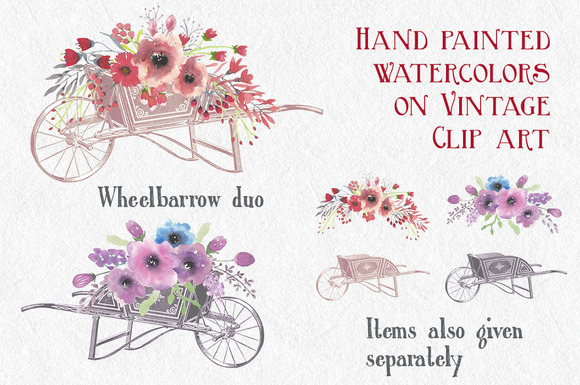 Vintage Watercolors Wheelbarrow