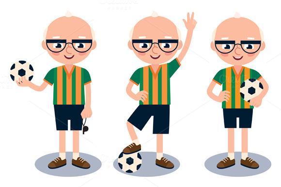 Senior Man Soccer Player With Ball