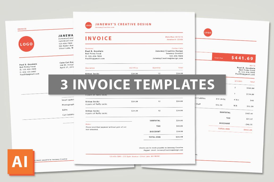 3 illustrator invoice templates templates on creative market. Black Bedroom Furniture Sets. Home Design Ideas