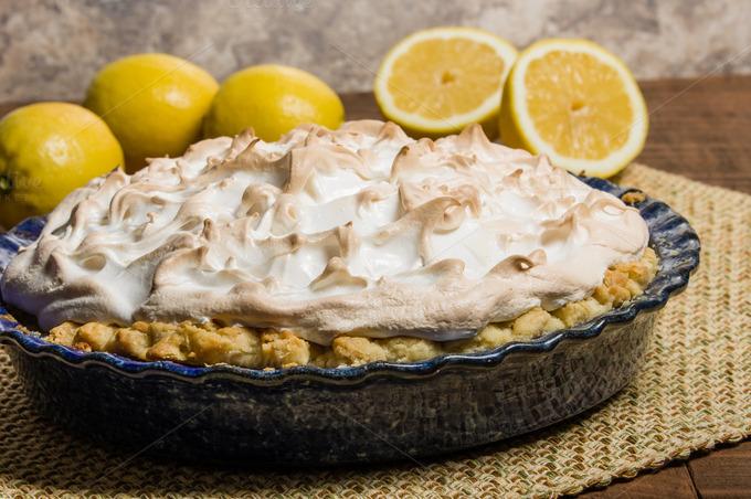 Homemade lemon meringue pie ~ Food & Drink Photos on Creative Market