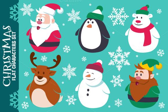 Christmas Cute Flat Characters Set