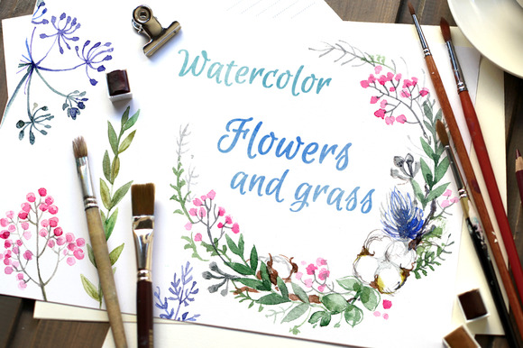 Flowers And Grass Watercolor