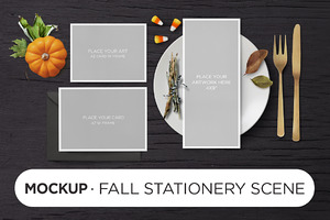 Mockup · Fall Stationery Scene