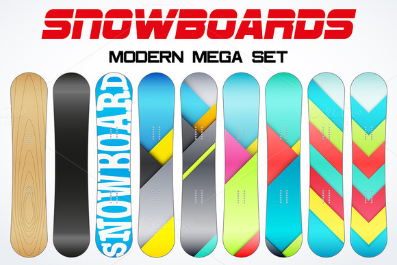 Set Of Modern Snowboards