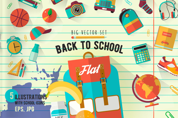 Back to school. Big vector set. - Icons