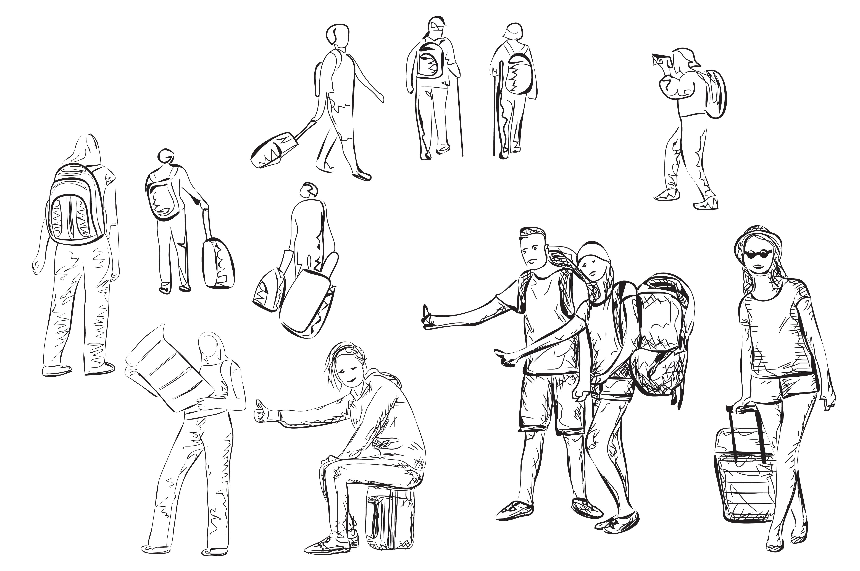 Hand Drawn Tourists Sketch ~ Illustrations on Creative Market