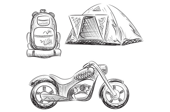 Tourism. Backpack, tent, motorbike. - Illustrations