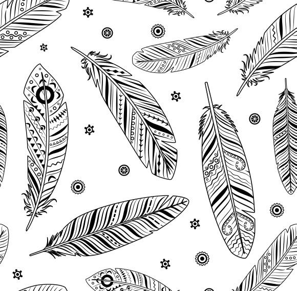Vintage Feathers Pattern