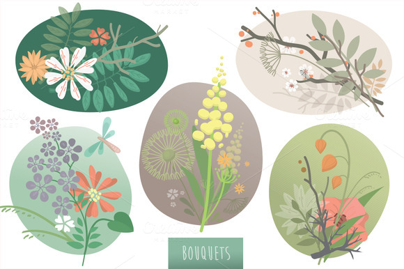 Bouquets Floral Vector Set