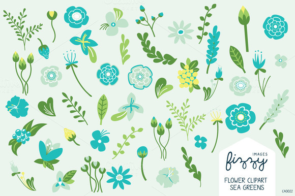 Sea Greens Floral Hand Drawn Set