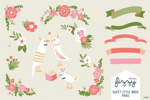 Wedding Pink Floral Birds Bundle