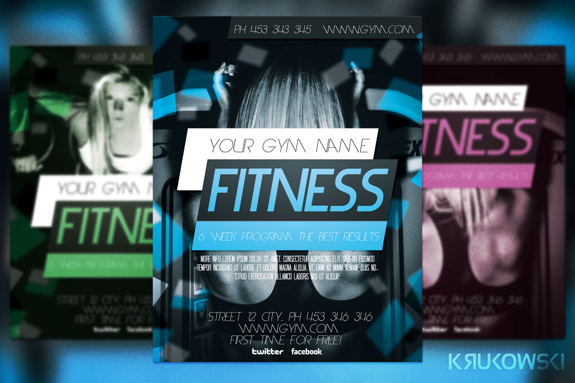 fitness flyer template flyer templates on creative market. Black Bedroom Furniture Sets. Home Design Ideas